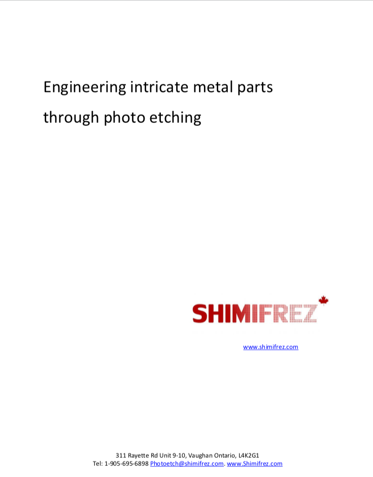Photo etching chemical machining brochure Shimifrez